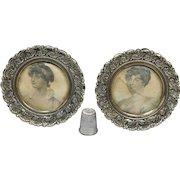 Antique Georgian Pair Of Miniature Circular Brass Picture Frame, Stipple Engravings of George III Daughters Elizabeth Sophia 1827