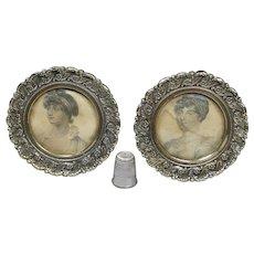 Antique Georgian Pair Miniature Stipple Engravings George III Daughters Elizabeth Sophia 1827