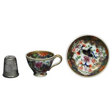 Antique Doll Size, Regency Period, Miniature Spode Cup and Saucer, Imari Pattern 3071. Circa 1820 AF