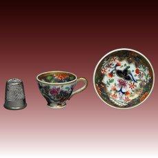 Antique Georgian Miniature Spode Pattern 3071 Dolls Cup and Saucer Regency Era Imari Circa 1820 AF