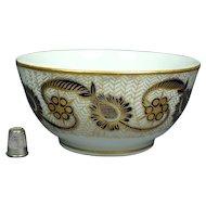 Antique 19th Century English New Hall Porcelain Bowl Pattern 585 Cobalt Blue and Gilt, Regency, Circa 1810
