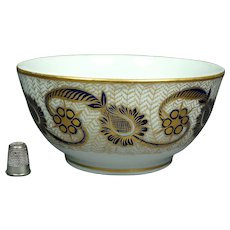 Antique 19th Century English New Hall Porcelain Bowl Pattern 585 Cobalt Blue and Gilt, Regency, Circa 1810