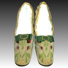 Antique 19th Century Shoes Kilim Woven Tapestry Red Leather Heel Straight Soles Circa 1850