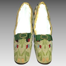 Antique 19th Century Shoes Tapestry Weave Red Leather Heel Straight Soles Circa 1850