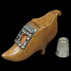 Antique 18th Century French Ladies Shoe Snuff Box Sterling Silver Paste Buckle Circa 1760 RARE