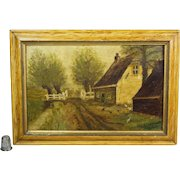 Antique 19th Century Oil Painting Rustic Farm Folk Art Country Farmhouse Circa 1890