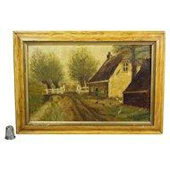 Dutch Landscape Oil on Board Rustic Farm Folk Art Country Farmhouse Circa 1890