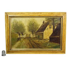Dutch Landscape Oil on Board Rustic Farm Folk Art Country Farmhouse Circa 1890