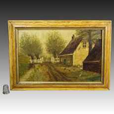 19th Century Landscape Signed Oil Painting Rustic Farmhouse Folk Art Country Look Circa 1890