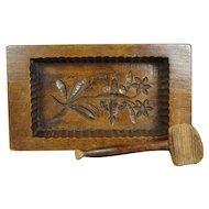 Antique Butter Mold And Scoop Folk Art Farmhouse Kitchen Circa 1890