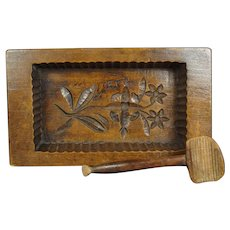 Antique Butter Mold And Scoop Folk Art Farmhouse Kitchen Circa 1890