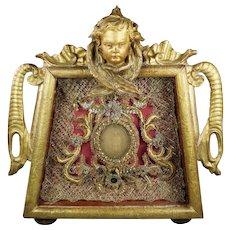 Antique 19th Century Monastery Work Wax Agnus Dei Carved Putti Gilt Wood Shadow Box Frame