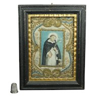 18th Century Needlework Painting Dog and Saint Circa 1780