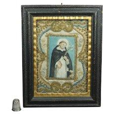 Antique Eighteenth Century Monastery Needlework Painting Dog and Saint Circa 1780