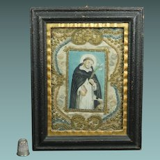 Antique Eighteenth Century Monastery Needlework Painting Dog and Saint Circa 1780