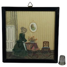 Antique 19th Century Miniature Needlework Silk Applique Picture