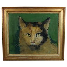 20th Century Cat Oil Portrait Painting English Folk Art