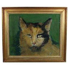 Cat Oil Portrait Painting English Folk Art