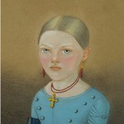 Antique Pastel Portrait Young Girl Blue Dress European Circa 1840 Biedermeier