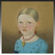 Biedermeier Pastel Portrait Girl Blue Dress European Circa 1840
