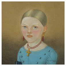 Biedermeier Pastel Portrait Girl Blue Dress European Circa 1840