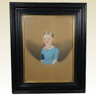19th Century Portrait Beautiful Girl in Blue Dress, Georgian Circa 1835 Folk Art