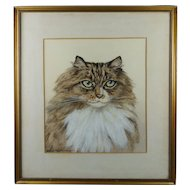 1920s Cat Watercolor Portrait Painting British Artist Marjorie Kingston Walker