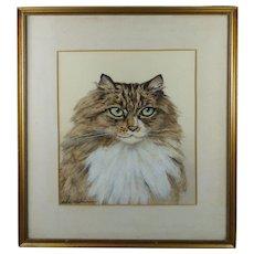1920s Cat Watercolor Portrait Painting British Artist Marjorie Kingston
