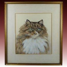 1920s Cat Watercolor Portrait Painting British Artist Marjorie Kingston Walker