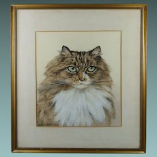Vintage Art Deco Cat Watercolor Portrait Painting British Artist Marjorie Kingston Circa 1920