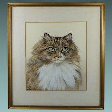 Vintage Art Deco Cat Watercolor Portrait Painting British Artist Marjorie Kingston Circa 1920