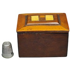 Antique Sailor Made Miniature Wood Ditty Box Circa 1810 Georgian Treen
