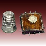 Vintage Replica Tiny Regency Pin Cushion Faux Rosewood Miniature Pincushion Georgian Sewing Box Accessory