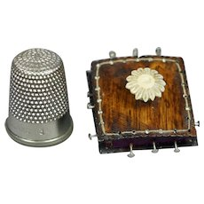 Vintage Replica Tiny Regency Pin Cushion Faux Rosewood Miniature Pincushion Georgian Sewing Box Accessory