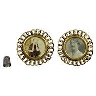 Antique Pair Miniature English Brass Ring Circular Photo Frame Circa 1870