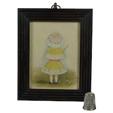Antique 19th Century Miniature Watercolor Portrait Little Girl Lovely Bonnet Umbrella Circa 1880