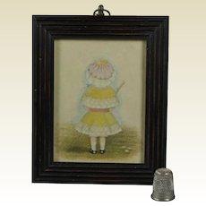 Antique 19th Century Portrait Miniature Little Girl Lovely Bonnet Umbrella Circa 1880s Victorian