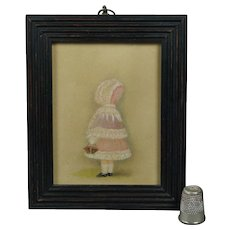 Antique 19th Century Miniature Watercolor Painting Little Girl Pink Bonnet and Basket Circa 1880