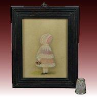 Antique 19th Century Portrait Miniature Little Girl Pink Bonnet and Basket Circa 1880s Victorian