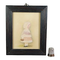 Antique 19th Century Portrait Miniature Watercolor Little Girl Pink Bonnet and Basket Circa 1880