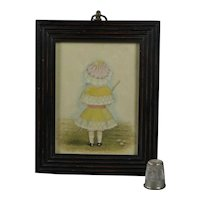 19th Century Portrait Miniature Little Girl Lovely Bonnet Umbrella Circa 1880s Victorian