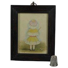 19th Century Portrait Miniature Little Girl Lovely Bonnet Umbrella Circa 1880s Victorian