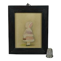 Victorian Portrait Miniature Little Girl Pink Bonnet and Basket