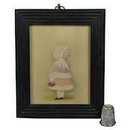 Victorian Portrait Miniature Little Girl Pink Bonnet and Basket
