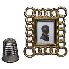 "Antique 19th Century Miniature Brass Ring Photo Frame 2"" Circa 1870 Doll House Size"