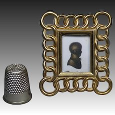 """Antique 19th Century Miniature Brass Ring Photo Frame 2"""" Circa 1870 Doll House Size"""