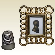 "Miniature Brass Ring Picture Frame  2"" Circa 1870 Doll House Size"