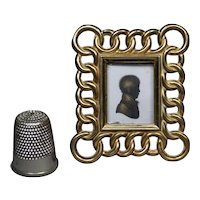 "Victorian Miniature Brass Ring Picture Frame  2"" English, Circa 1870 Doll House Size"