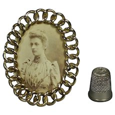 Antique 19th Century Miniature Brass Ring Oval Photo Frame English Doll Size Circa 1870