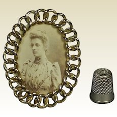 Brass Ring Picture Frame English Doll Size Circa 1870